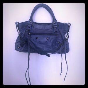 Balenciaga Indigo Agneau Classic Shoulder Bag